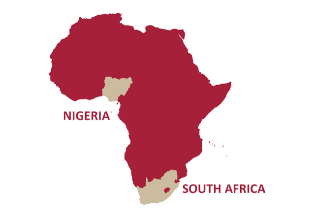 Nigeria & South Africa map - GladAfrica Group (Pty) Ltd South Africa